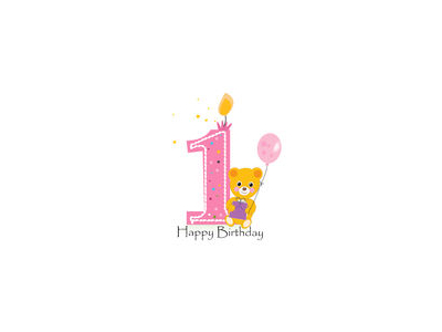 Happy First Birthday Candle Baby Birthday Greeting Card With Teddy Image
