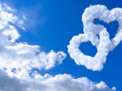 Hearts With Clouds And Blue Sky Background