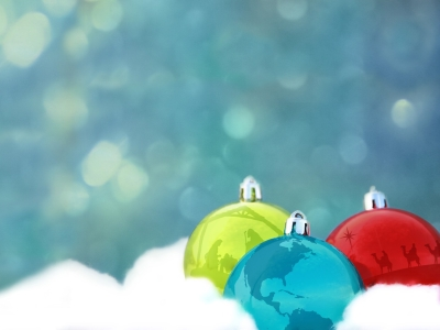 Light Blue Christmas Ornaments Background