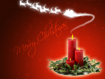Merry Christmas Candle Smoky Background