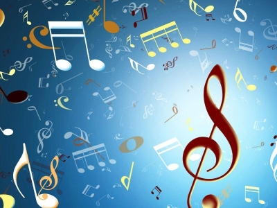 Music Notes Colorful Background