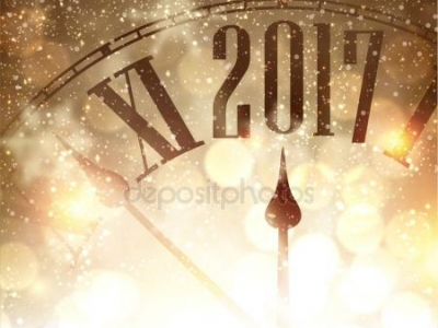 New Year Background With Clock Clipart