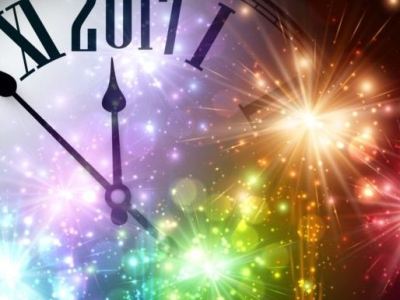 New Year Background With Spheres Clock Vector