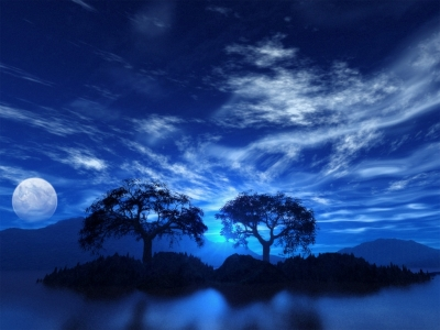 Night Reflection Blue Sky Wallpaper