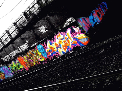 Night Train Route Graffiti Background