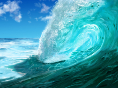 Ocean Wave Painted Wallpaper