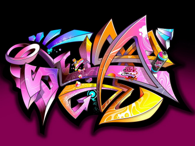 Purple Graffiti Wallpaper Image
