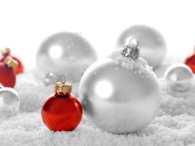 Red Christmas Ornament Snow White Background