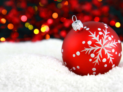 Red Christmas Ornament With Snow And Lights Background