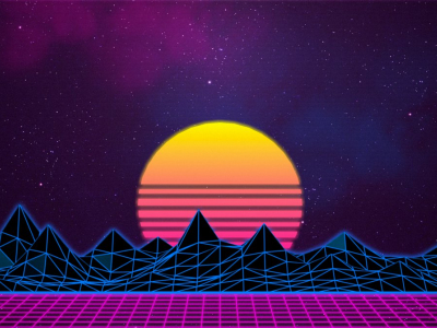 Retrowave 80s Background