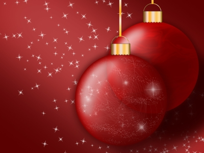 Simple Red Christmas Ornaments Wallpaper