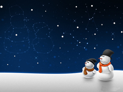 snow man, winter, night, holiday ppt background #1054