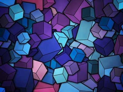 Stained Glass Geometry Cubes Hd Wallpaper