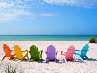Summer Sea Beach And Chair Background