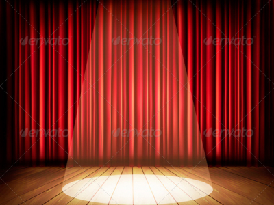 Theater Stage With A Red Curtain And A Spotlight