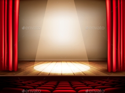 Theater Stage With A Red Curtain Seats By Almoond