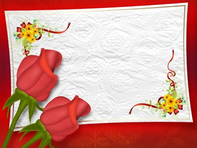 Two Rose With Wedding Frame Background