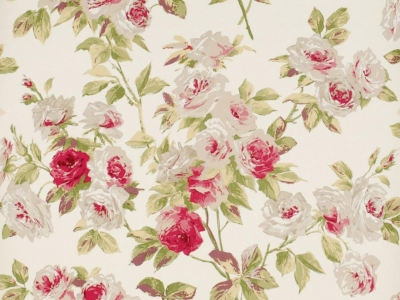 White And Red Vintage Flowers Wallpaper