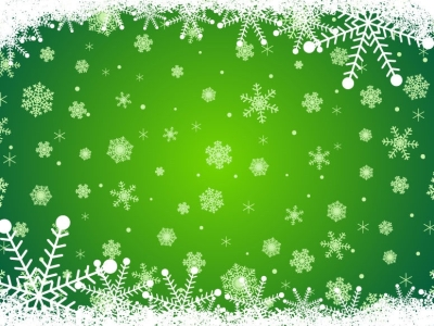 With Snowflakes Green Christmas Background