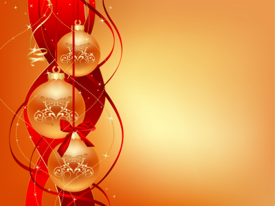 Yellow Christmas Ball Ornaments Background