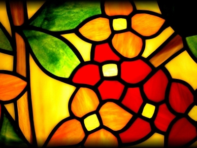 Yellow Red And Green Stained Glass Wallpaper