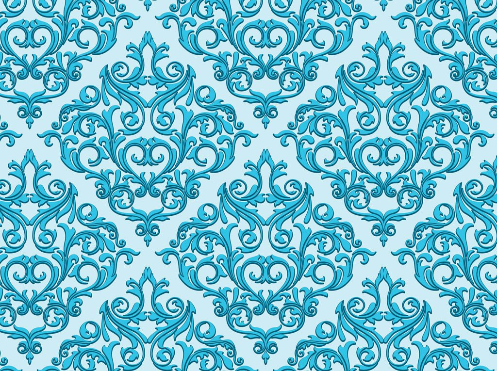 Damask Wallpaper Seamless Background Baby Blue Background Or Wallpaper