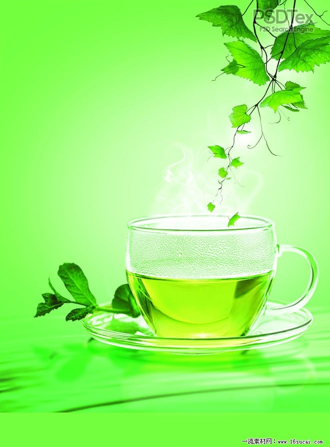 Free Download Green Tea Poster Background Psd Tea Poster
