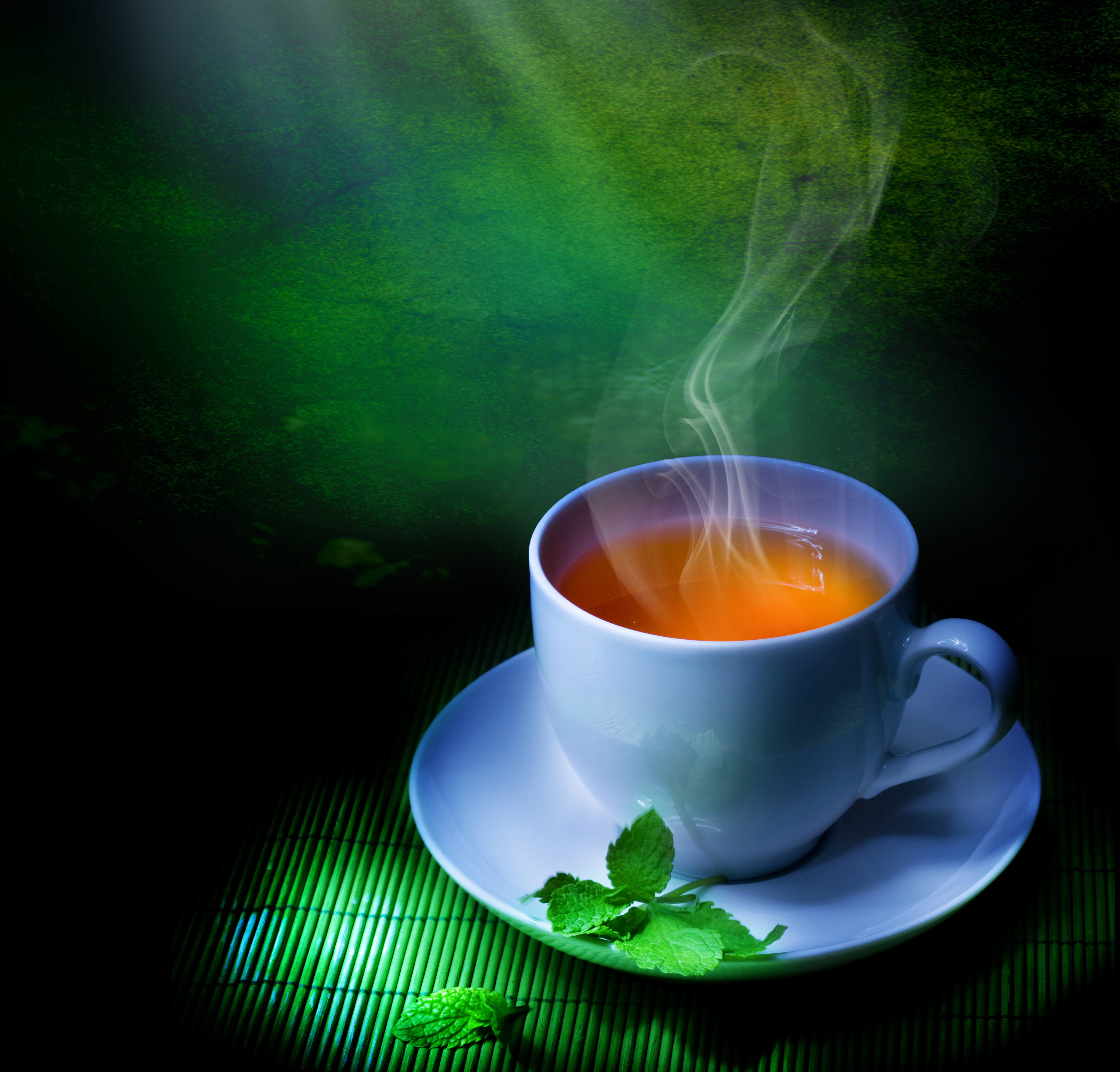 Tea Cup Green Background