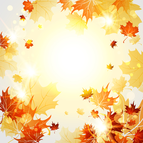 Autumn Leaves Background Bright autumn leaves vector backgrounds 06