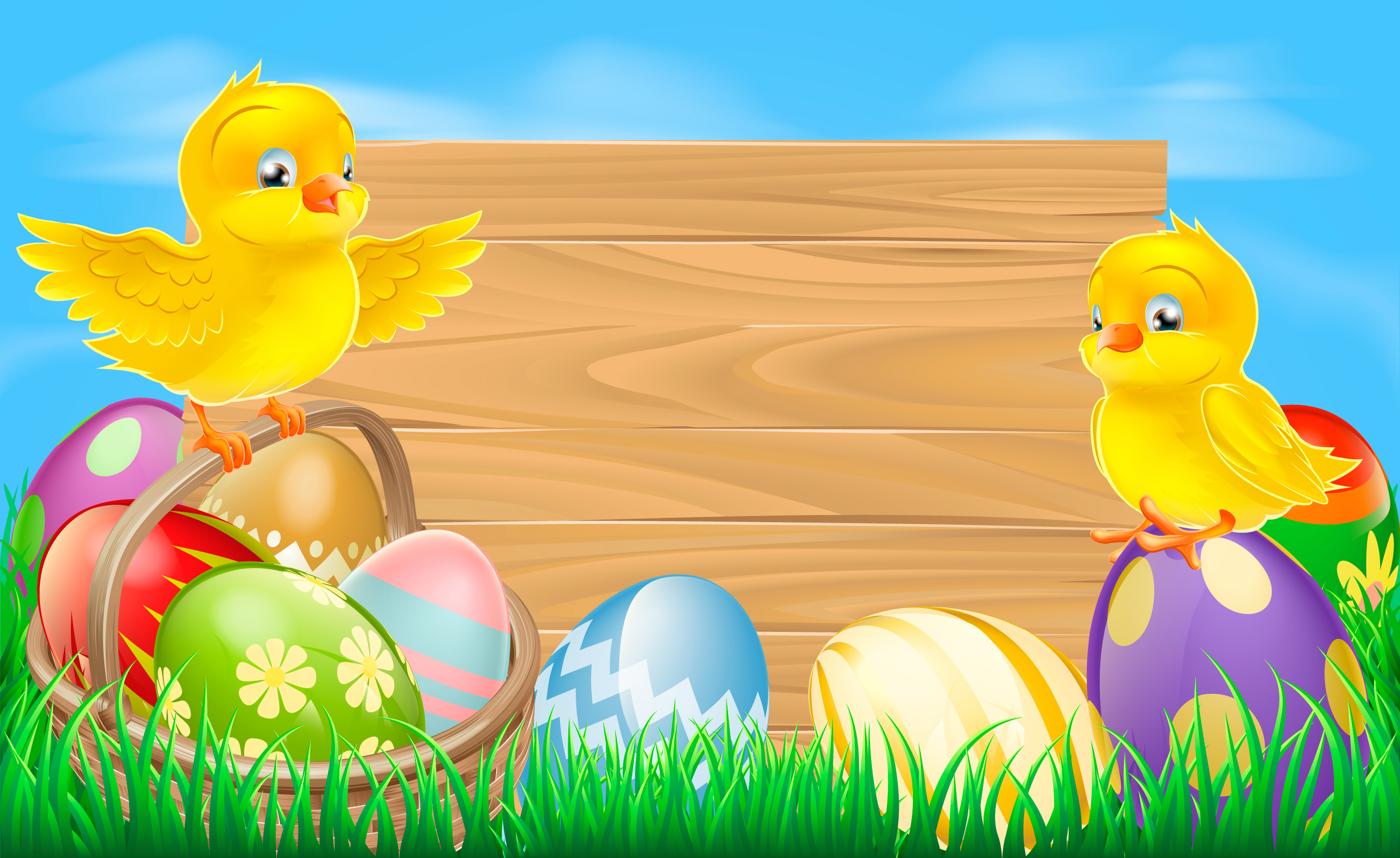 Easter Background with Eggs and Chickens #9720