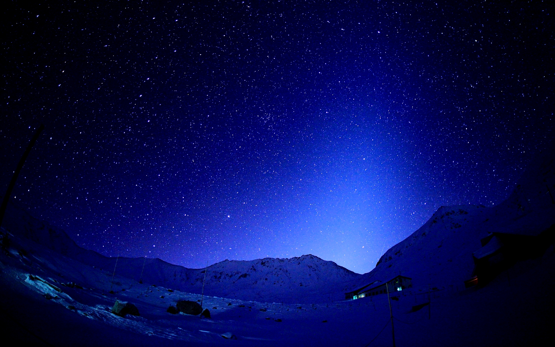 mountains and starry sky desktop wallpaper