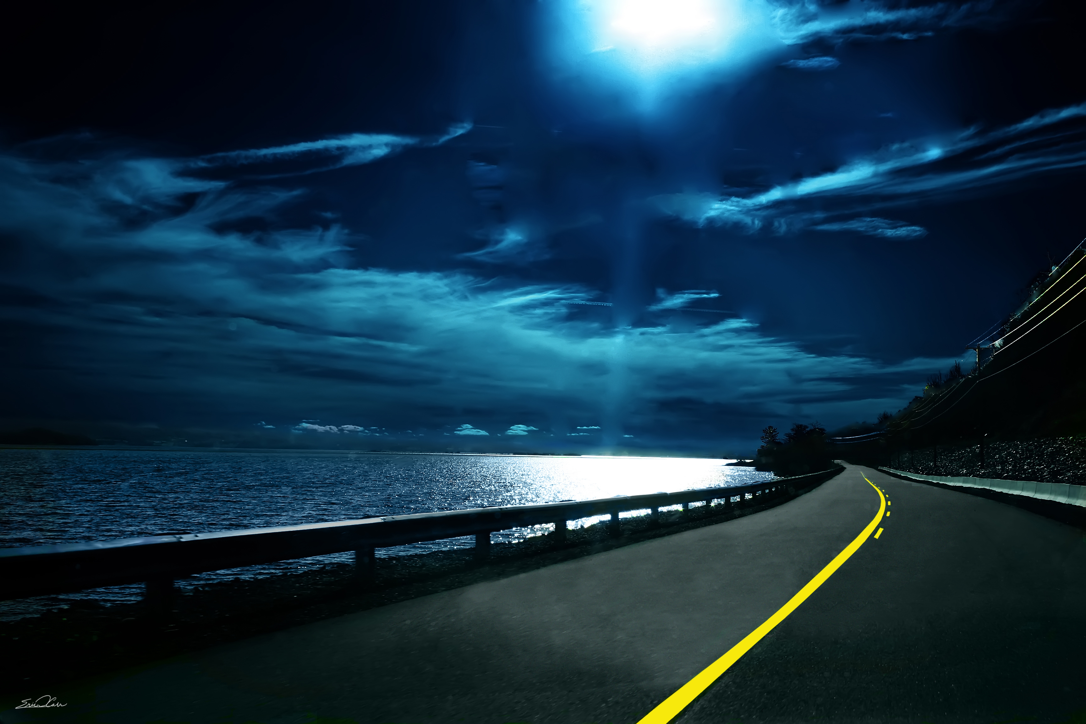 Night Road Background